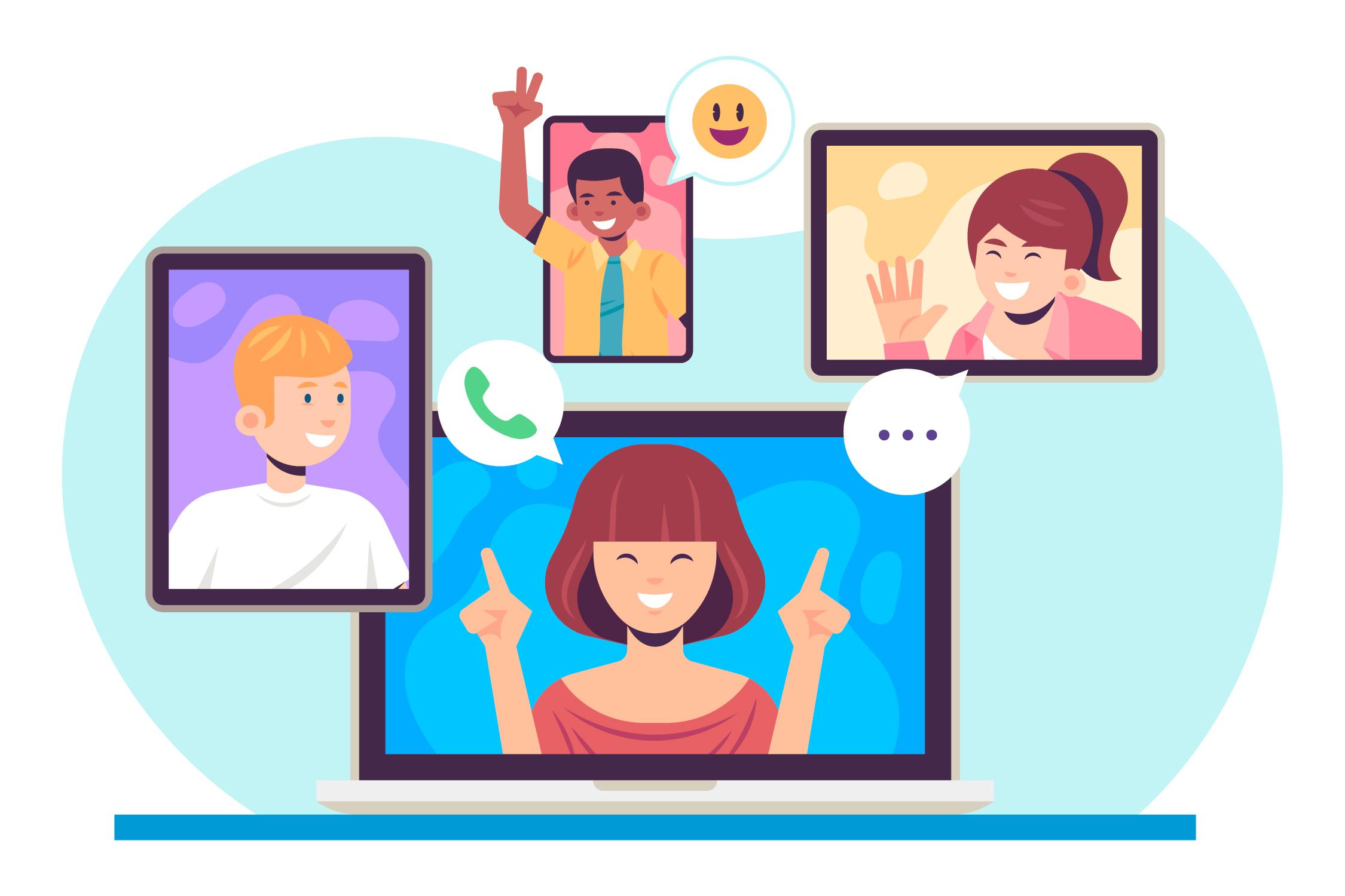 personas realizando videollamadas